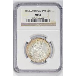 1853 50C Half Dollar. AU 50 NGC