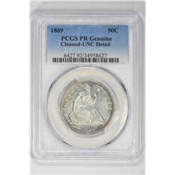 1869 50C  PR Genuine. UNC Detail PCGS