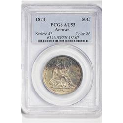 1874 50C. Au 53 PCGS