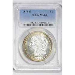 1878 S $1. MS 63 PCGS