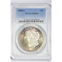1880 S $1. MS 64 PCGS