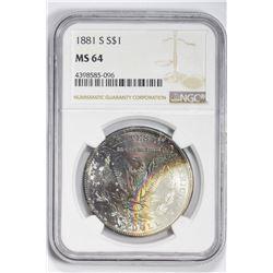 1881 S $1. MS 64 NGC