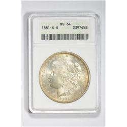 1881 S $1. MS 64 ANACS
