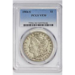 1904-S $1 Morgan Dollar. VF 30 PCGS