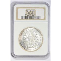 1921 D $1. MS 65 NGC
