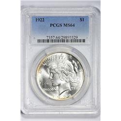 1922 $1. MS 64 PCGS