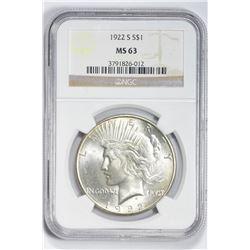 1922 S $1. MS 63 NGC