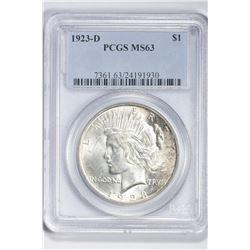 1923 D $1. MS 63 PCGS