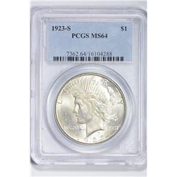 1923 S $1. MS 64 PCGS
