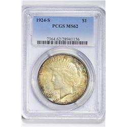 1924 S $1. MS 62 PCGS