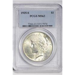 1925 S $1. MS 63 PCGS