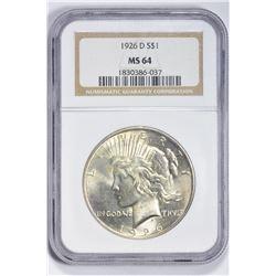1926 D $1. MS 64 NGC