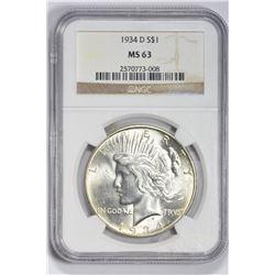 1934 D $1. MS 63 NGC