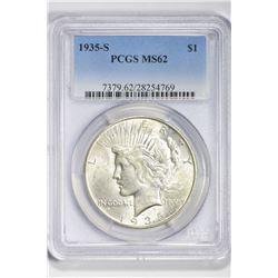 1935 S $1. MS 62 PCGS