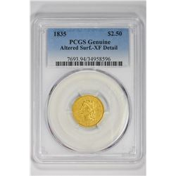 1835 $2.50 Genuine. XF Detail PCGS