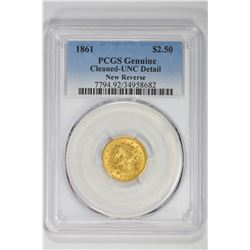1861 $2.50 Genuine New Reverse. UNC Detail PCGS