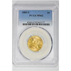 1885-S $5. MS 62 PCGS