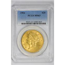 1904 $20. MS 63 PCGS