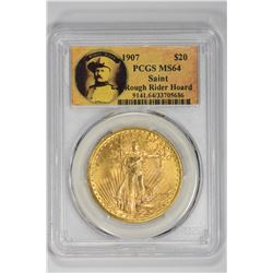 1907 $20 Saint Rough Rider Hoard. MS 64 PCGS
