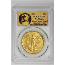 1908 $20 No Motto Rough Rider Hoard. MS 65 PCGS