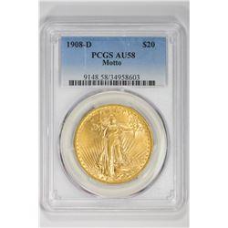 1908-D $20 Motto. AU 58 PCGS