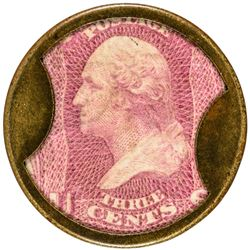 J. Gault. 3 Cents, Plain Frame. HB-129, EP-46, S-95. Choice About Uncirculated.