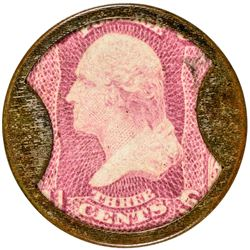J. Gault. 3 Cents, Ribbed Frame. HB-130, EP-47, S-95a. About Uncirculated.