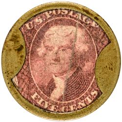 One of Three Known Norris Five Cents John W. Norris. 5 Cents. HB-186. EP-87, S-138. Extremely Fine.