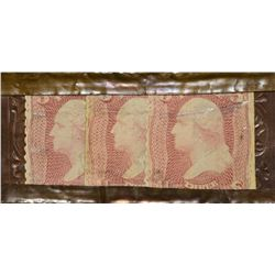 Feuchtwanger Strip. 9 Cent Strip of Three 3 Cent Stamps Encased. HB-Unl EP-95a. Extremely Fine+.