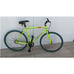 Kent Neon Yellow Men's Single Speed Road Bicycle w/ Blue Tires