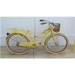 Huffy Yellow Women's Single Speed Bike w/ Coaster Brake, Basket & NO SEAT