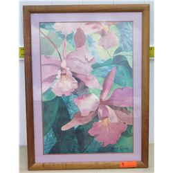 "Framed Art - Signed Carli Oliver Orchid Watercolor 24""x32"""