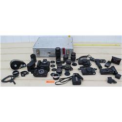 Cameras - 2 Canon F-1 Cameras, 2 Nikon Cameras, Multiple Canon Lenses & Accesories