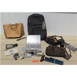 Misc Lot - Solo Backpack, Olympus Camera, Sport Camera, Portable DVD Player, Handbag, Wallets