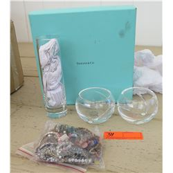 TIffany & Co Glassware & Bag of Assorted Jewelry