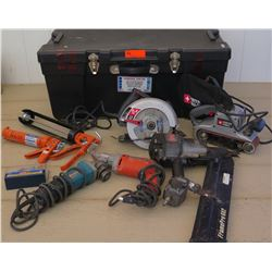 Tools - Various Power Tools & Large Tool Box: Porter Cable Belt Sander, Skilsaw Circular Saw, Makita
