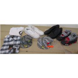Clothing - Two DC Hats, Kids Nike Air Sneakers size 6.5, Boys Flannel Shirt size S, Mens Reebok Snea