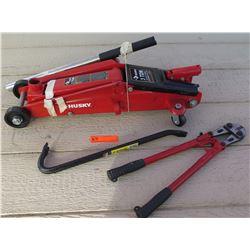 Tools - Husky 3 Ton Jack, Bolt Cutters, Pry Bar