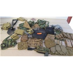 Military Issue Pouches of Varied Shapes/Sizes, Collapsible Shovel