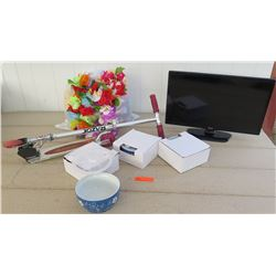 Electronics - LG Flat Screen TV, Razor Scooter, Blue Ceramic Bowl Set
