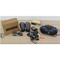 Electronics - Netgear Wireless USB Adapter, Memorex Stereo, Computer Speakers, Multiple Palm Pilots