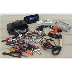 Tools - Pro X One Cordless Drill, Tool Bag of Assorted Hand Tools, Drill Bits, Car Jumper Cables