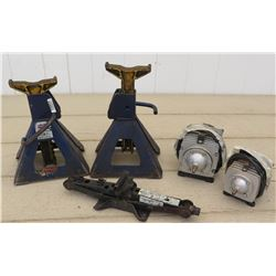 Tools - Two Ecoplus Commercial Air 3 Pumps, Two Lincoln Jack Stands, Small Jack