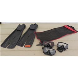 Atomic Aquatic Fins w/ Bag, Three Masks