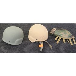 Qty 2 Military Style Combat Helmets and Cover