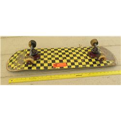 Skateboard w/ Black & Yellow Checkered Deck