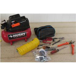 Tools - Husky Air Compressor w/Hose & Misc. Hand Tools