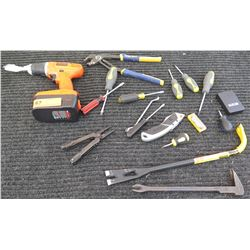 Tools - Black & Decker 18V Drill, Vice Grip, Crow Bar, etc.