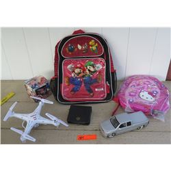 Mario Backpack, Hello Kitty Backpack, SYMA Drone, Toy Truck, etc.