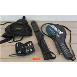 Prince Tennis Racket, Darts, Backpack, Empty Pool Cue Case
